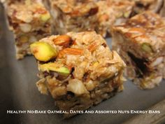 Enjoy these crunchy and chewy Healthy No-Bake Oatmeal, Dates And Assorted Nuts Energy Bars as a quick snack or a healthy homey dessert!