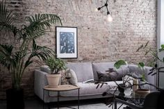 Always a great idea to leave an orginal architectural element like a brick wall visible. Via my scandinavian home: An Elegant Swedish Farmhouse Conversion Casual Living Rooms, Diy Living Room Decor, Chic Living Room, Living Room Modern, Living Room Designs, Small Living, Red Brick Fireplaces, Minimalist Room, Family Room Design