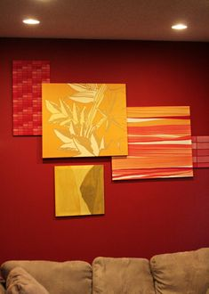 Wall art made with fabric.- like this the overlapping for spare room
