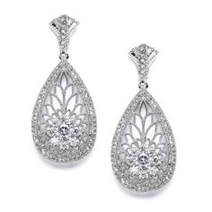 Mariell Art Deco Great Gatsby Theme CZ Wedding earrings