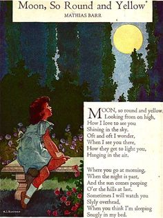 """Moon So Round and Yellow"" by Mathias Barr, illustrated by Miriam Story Hurford [from ""My Book House"" - vol. 2 (""Story Time""), first edited by Olive Beupre Miller in the 1920's - 1937 edition]"