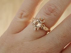 Peach Morganite and Diamond Engagement Ring by PenelliBelle