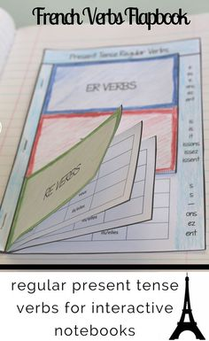 Give your students an organized, at-a-glance reference section for recording regular present tense French verbs. This flapbook is designed for er, ir, and re verbs. I love using flapbooks like these in interactive notebooks to make conjugations a bit French Verbs, French Grammar, French Tenses, How To Speak French, Learn French, Teaching Verbs, Teaching Reading, Present Tense Verbs, French Teaching Resources