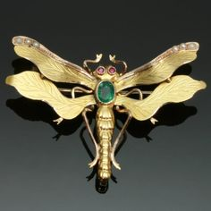 Antique dragonfly brooch, gold, ruby, emerald