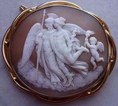 """Hermes and Nike""  Sardonyx Shell Cameo in 18k Gold Frame, Italy,  c. 1840-1850   Frame is probably English"