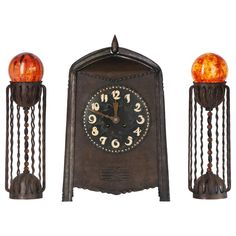 Winkelman & Van der Bijl, Amsterdam School Clock Set, circa 1920 | See more antique and modern Clocks at https://www.1stdibs.com/furniture/decorative-objects/clocks