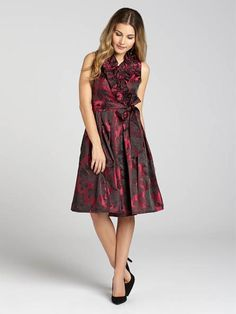 "Laura Petites: for women 5' 4"" and under. The jacquard textile makes this elegant night-out look perfect for cocktail hour or that after-work party. The dress features a delicate ruffle front and the look is tied together with a sash cut fr...4030103-8540"