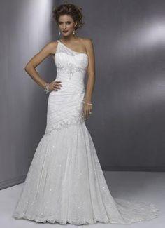 Elegant One-Shoulder Mermaid Bridal Lace #Wedding Dress