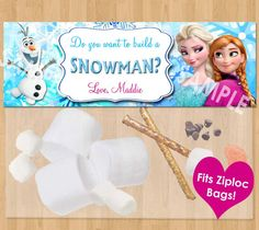 Do You Want to Build a Snowman Frozen Favor Bag Toppers - Personalized Disney Frozen Birthday Printable for Party Treat Candy Loot Bags Olaf Frozen Favor Bags, Frozen Party Favors, Olaf Party, Disney Frozen Birthday, Frozen Theme Party, Snowman Party, Sleepover Party, 6th Birthday Parties, Birthday Fun