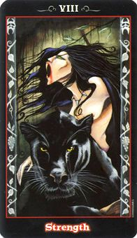 Strength: Balance your primal force with intuition and compassion. Source:  Learning Tarot: Strength Tarot Card - Vampire Tarot Deck © U.S. Games Systems, Inc.