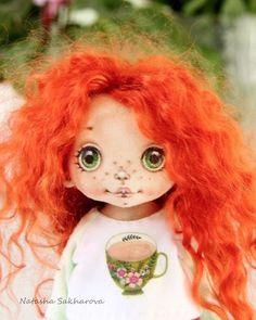Эти кудри нереальные! Обожаю ! #куклаизткани #текстильнаякукла #куклысахаровойнатальи #кудри #козийпух #doll #artdoll