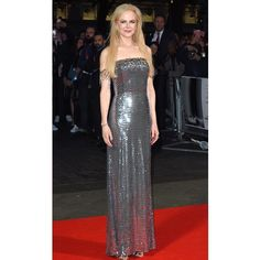 Nicole Kidman wears a Prada Silver off the shoulder chiffon gown, hand-embroidered all over with silver paillettes, trimmed in mixed metal embroidery and silver leather sandals while attending the 'Killing of a Sacred Deer' première during the 61st #BFI #LondonFilmFestival.  via ✨ @padgram ✨(http://dl.padgram.com)