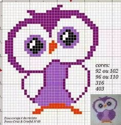 This Pin was discovered by Nun Cross Stitch Owl, Beaded Cross Stitch, Cross Stitch Animals, Cross Stitch Charts, Cross Stitch Designs, Cross Stitching, Cross Stitch Embroidery, Cross Stitch Patterns, Hand Embroidery