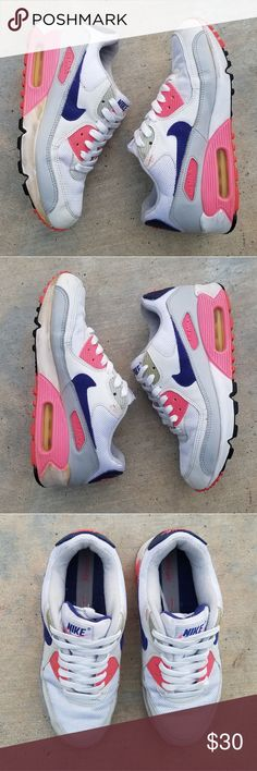 b5ab58844f3 Nike Air Max 90 Neon Pink × Navy × White × Gray No Box The soles