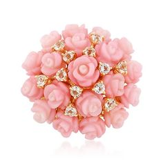 maybe for my birthday!? Carved Pink Coral and 1.60 ct. t.w. White Topaz Rose Ring in 14kt Yellow Gold Over Sterling