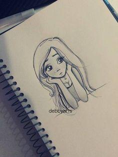 Imagen de draw, drawing, and art Art Drawings Sketches Simple, Girl Drawing Sketches, Sad Drawings, Girly Drawings, Cartoon Girl Drawing, Pencil Art Drawings, Cartoon Drawings, Cartoon Art, Sketching