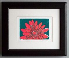 Crysanthemum original Linocut print by FineArtByLorraine on Etsy, $25.00