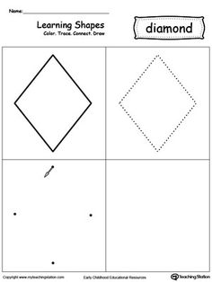 Learn the diamond shape by coloring, tracing, connecting the dots and drawing with My Teaching Station printable Learning Shapes worksheet. Fall Preschool, In Kindergarten, Preschool Activities, Preschool Shapes, Preschool Learning, Shapes Worksheets, Tracing Worksheets, Printable Worksheets, Preschool Workbooks