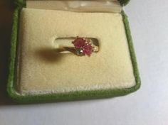 Vintage Pink Sapphire, Green Peridot, & White Topaz Gold Plated Ring $19.99