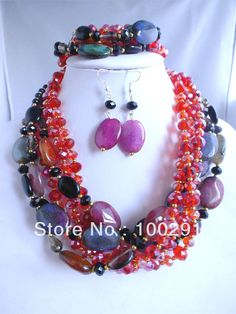 FreeShipping!!! 2013 New Agate Jade Crystal Beads Jewelry Handmade African Wedding Jewelry Necklace Bracelet $49.37