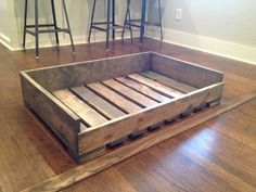 Your will be relaxing in style with this handmade reclaimed pallet dog bed. This dog bed is created from new pallets but with the look of an old, reclaimed pallet. It fits a standard crate pad. Options for custom dog beds are available. Select your wo