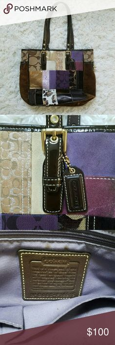 Coach medium patchwork purse Medium sized shoulder bag. Purple, brown, and black patchwork style bag.  100% authentic coach bag.  Has some wear, mostly just spots on inside lining. Leopard print is worn slightly (see coverphoto) but outside looks in good shape besides that! Has feet on bottom perfect for setting down on desks.  Please ask any questions you have!! Coach Bags Shoulder Bags