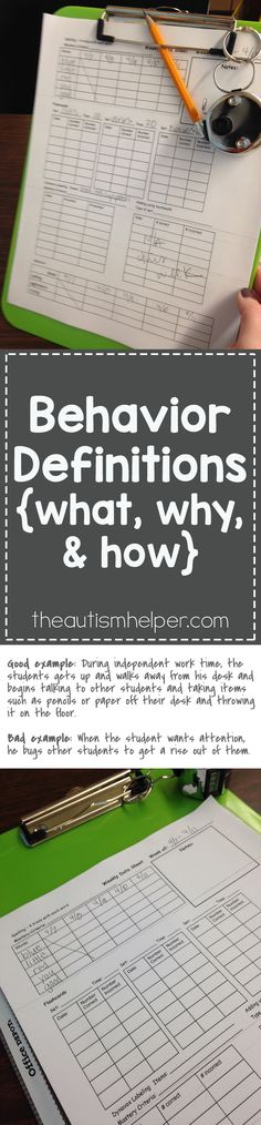 Because behavior is so subjective - we need to create & write out a very specific behavior definition so behaviors are counted consistently & equally by all staff. So let's break down the specifics of making a great behavior definition! From theautismhelper.com #theautismhelper