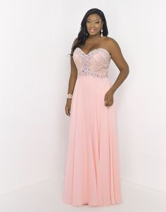 BLUSH TOO (PLUS) 9050W COTTON CANDY  Be the center of attention in this empire waist chiffon gown featuring a sweetheart neckline and fully beaded bodice. Back zipper closure. Only in Cotton Candy.
