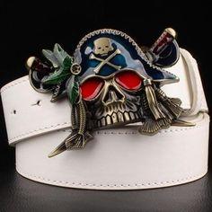 Skull Pirate Metal Buckle Leather Belt - Skullflow    https://www.skullflow.com/collections/skull-belts-buckles/products/skull-pirate-metal-buckle-leather-belt