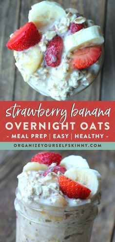 Want to make your mornings easier by having an easy make ahead breakfast already done for you? This strawberry overnight oatmeal recipe is simple healthy full of protein & low calorie. Click through to check out the full recipe! Organize Yourself Skinny Easy Healthy Meal Prep, Healthy Low Calorie Meals, No Calorie Foods, Easy Healthy Breakfast, Low Calorie Recipes, Banana Breakfast, Breakfast Recipes, Breakfast Smoothies, Healthy Breakfasts