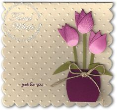 Punch Art Flower Vase and Scallop Note Card by the_tamster - Cards and Paper Crafts at Splitcoaststampers