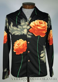 Vintage 70s Mens Polyester Printed Shirt Floral Roses Print * Mens Size Medium
