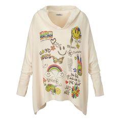 Pullover, Hippie-Print, kuschelig weich Vorderansicht