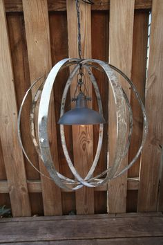 Globe Orb Hanging Light Chandelier Made From Recycled Wine Barrel Rings