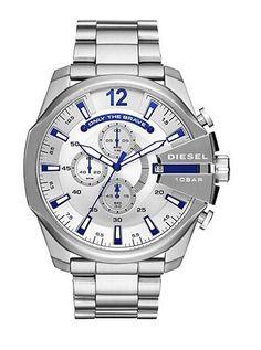 Diesel Men's Mega Chief Quartz Watch with Stainless-Steel Strap, Silver, 12 (Model: Stylish Watches, Casual Watches, Luxury Watches, Cool Watches, Watches For Men, Stainless Steel Bracelet, Stainless Steel Case, Herren Chronograph, Mvmt Watches