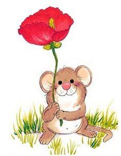 Alfabeto de ratoncito con flor. | Oh my Alfabetos!