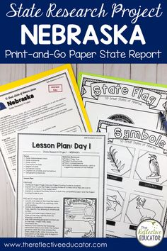 State Research Project | NEBRASKA Print-and-Go Paper State Report is a fun and easy state report project for upper elementary students. This easy-to-use resource includes links to safe reference websites and step-by-step lesson plans to get your students started with an online research project. Students research symbols, the flag, geography, and history. It is fun and easy! Buy State Research Project | NEBRASKA Print-and-Go Paper State Report and take the stress out of planning your lessons. Key Projects, Research Projects, 4th Grade Social Studies, Upper Elementary, Nebraska, Geography, Missouri, Lesson Plans, Students
