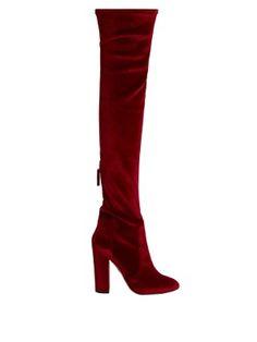 Over-the-knee velvet boots | Aquazzura | $895 MATCHESFASHION.COM US