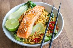 Recept zalm teriyaki noedels