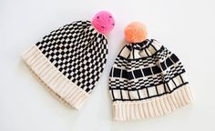 handmade in NYC, i love the peach pom pon one with the grid pattern - adorbs!