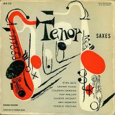 Various Artists: Tenor Saxes, label: Norgran MGN 1034 (1955) Design: David Stone Martin.