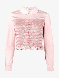 82284184278 Miu Miu smocked long sleeve shirt Pink Long Sleeve Tops