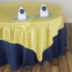 """60"""" SATIN Square Overlay For Wedding Catering Party Table Decorations - YELLOW  Regular Price $9.37  Factory Price $1.60"""