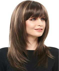 Hairstyles COSCOSS® Charming Long Layered Straight Synthetic Hair Capless 18 Inches Wig Jump Start t Layered Hair With Bangs, Medium Layered Hair, Long Hair With Bangs, Long Hair Cuts, Wigs With Bangs, Haircuts For Medium Hair, Medium Hair Styles, Natural Hair Styles, Long Hair Styles