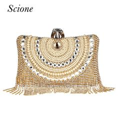 New Women Diamond Wedding bride Shoulder Crossbody Bags Gold Clutch Beaded Tassel Evening Bags Party Purse banquet Handbags Li29 //Price: $24.49 & FREE Shipping //     #hashtag3