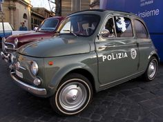 Vintage police cars on display, Fiat 500, Polizia di Stato, Piazza del Popolo, Rome
