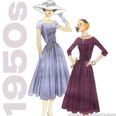 Out of print paper sewing pattern to make a 1950s dress with tucked bodice and full skirt. Love the 1950s? Find more50s vintage reproductions and original 50s