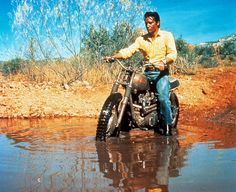 Elvis on his Triumph