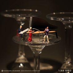 """MINIATURE CALENDAR"" Jazz  by  Tanaka Tatsuya . http://miniature-calendar.com/2014/01/"