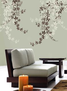 Beautiful wall art stencil Virginia Creeper helps to bring the nature inside! This large wall stencil makes a stunning accent on a wall above the sofa or table, above the bed or pretty much...@ artfire
